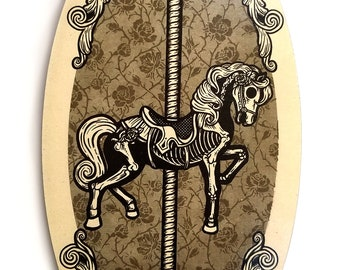 Haunted Carousel Horse Skeleton on Wooden Oval Plaque