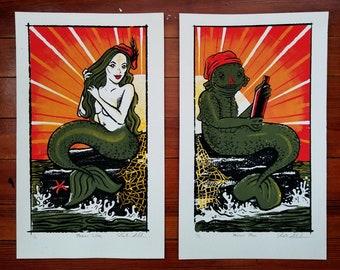 Male and Female Merrows Mermaids Silkscreen Print