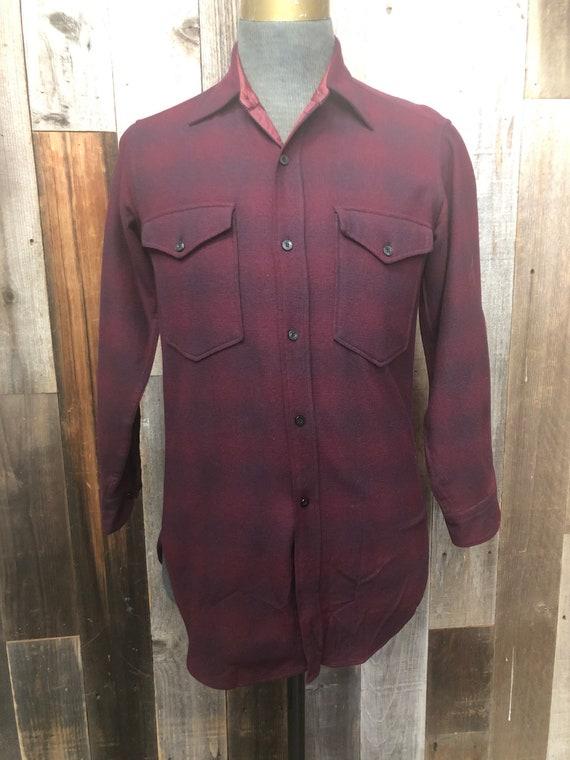 SMALL Pendleton Burgundy Ombré Plaid Wool Shirt /