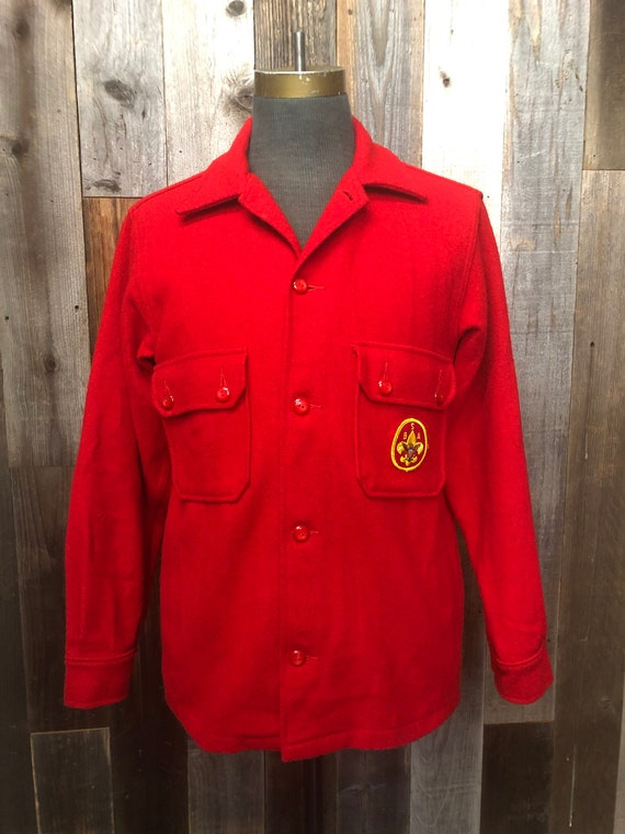 MEDIUM Boy Scouts Mens Red Wool Official Jacket /