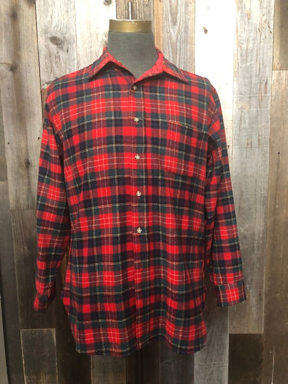 LARGE Pendleton Plaid Wool Shirt / Vintage Pendlet