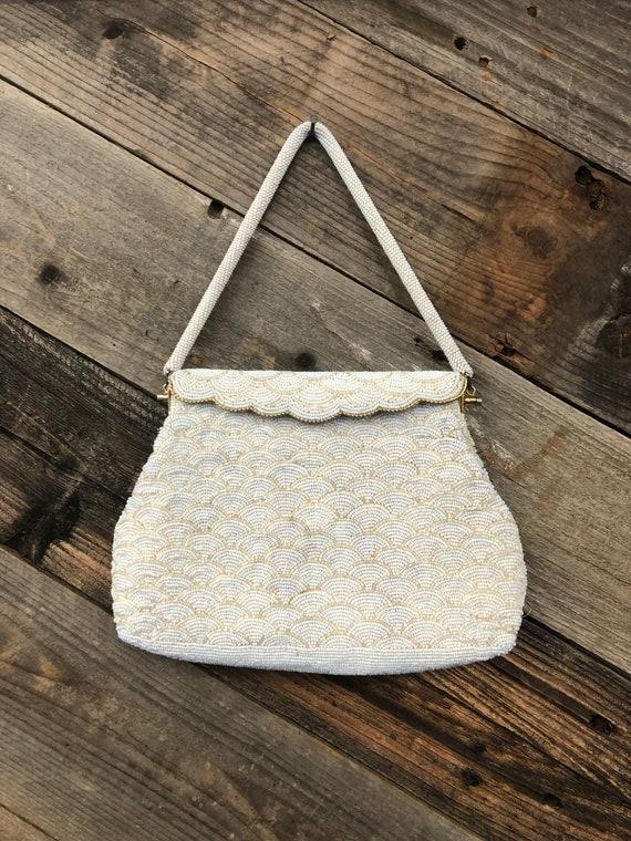 White Micro-Beaded Handbag / Handmade Beaded Handb