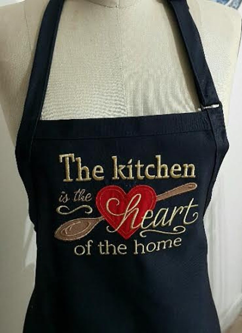 navy apron with gold and red embroidery Mothers day gift Apron The Kitchen is the  Heart of the Home Apron-
