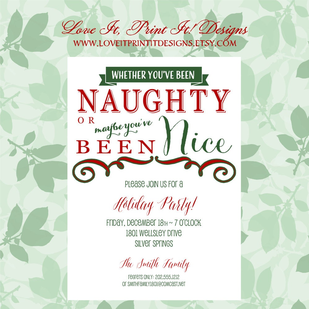 Holiday Invitation DIY Template Festive Naughty or Nice | Etsy
