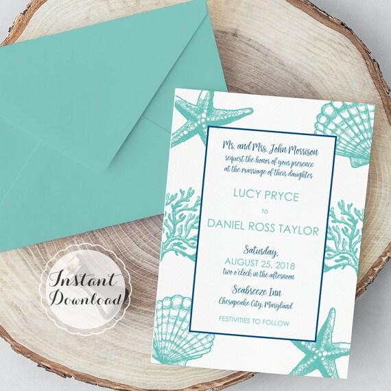 Seashell Border Wedding Invitation Template Beach Printable Microsoft Word Digital File Instant Download