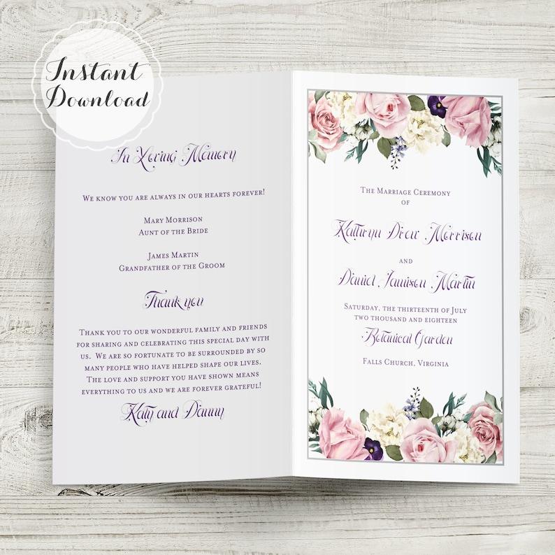 English Garden Floral Wedding Program Template Instant Download Folded NO  CUT DIY 8 5 x 11 Editable & Printable Microsoft File