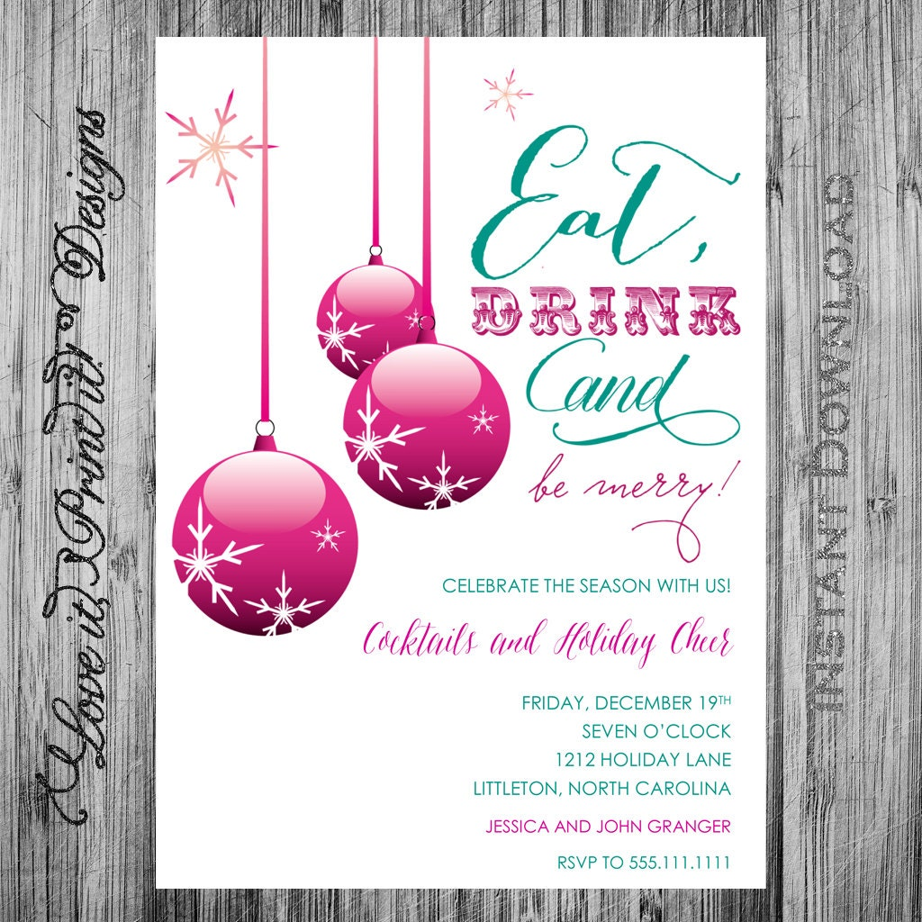 holiday invitation digital template diy eat drink and be