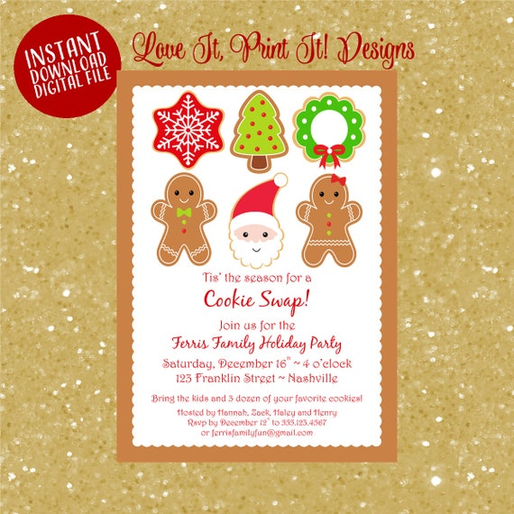 Christmas Cookie Exchange.Christmas Cookie Swap Invitation Cookie Exchange Invite Printable Holiday Party Invitation Instant Download Digital Template