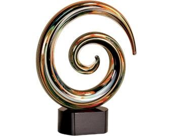 swirl art glass, hand blown glass swirl, blown glass sculpture, corporate glass award, achievement glass award, colorful glass art sculpture