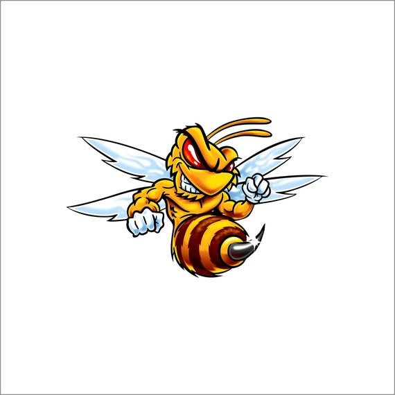 Fighting Yellow Jacket Decal Full Color Hornet Decal Yellow Etsy