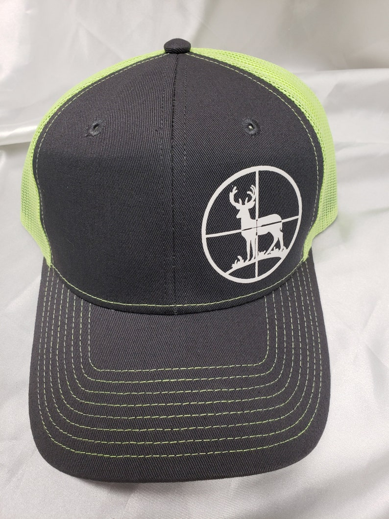 7459d96c7 Buck in scope snap back cap, hunting neon mesh back cap, Deer Hunting snap  back cap, Buck hunting neon cap, hunting logo caps