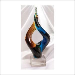 achievement glass award blown glass sculpture hand blown glass unique glass sculpture corporate glass award colorful glass sculpture