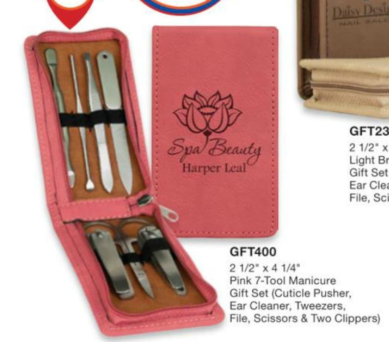 7-Piece Laserable Leatherette Manicure Gift Set, personalized manicure set,  monogrammed manicure set, engraved manicure gift set