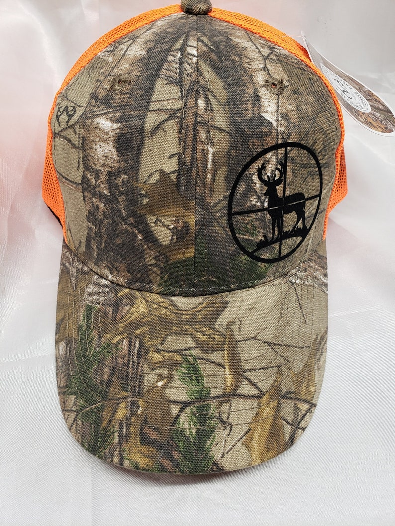 cee5f4ef3 Buck in scope cap, hunting neon mesh back cap, Deer Hunting cap, Buck  hunting neon cap, hunting logo caps