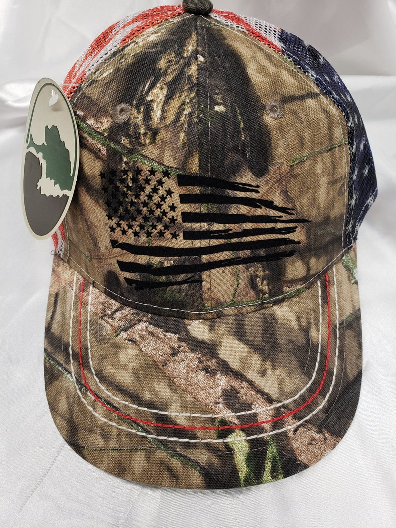971a0600d Tattered american flag snap back cap, Camo american flag mesh back cap,  Distressed american flag hat, american flag Camo cap,