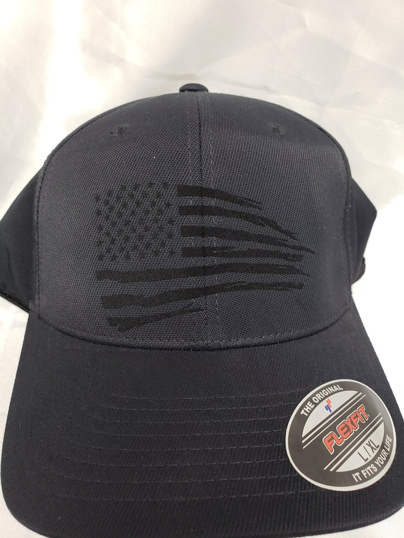 1b9c433d640 Tattered american flag fitted cap tone on tone american flag