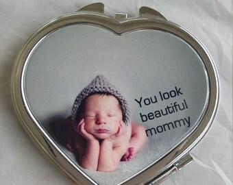 Silver-tone Heart Compact Mirror, personalized mirror, custom picture compact mirror