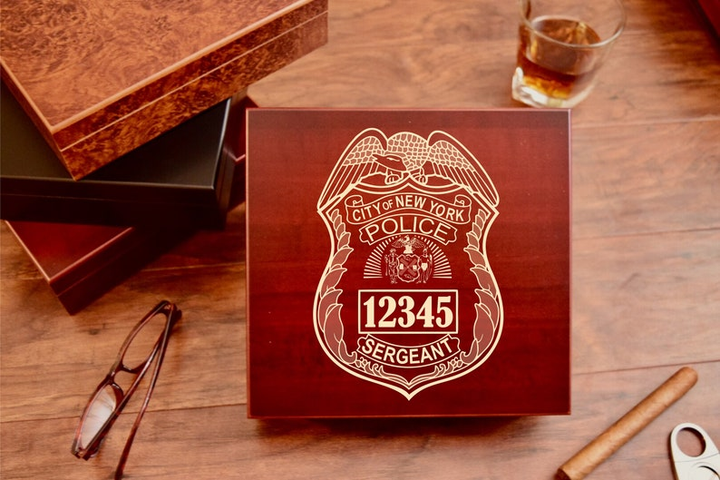 bc55a13df1f04 Police Department Personalized Cigar Humidor Box