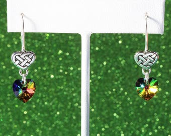 Celtic Heart Swarovski Crystal Earrings