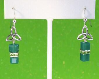 Celtic Cube Swarovski Crystal Earrings