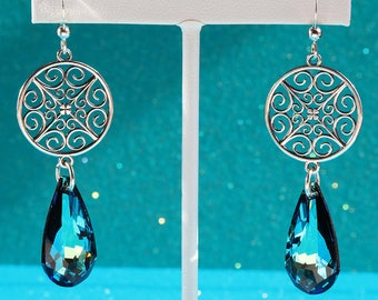 Elegant Sterling Silver Filigree and Swarovski Crystal Earrings