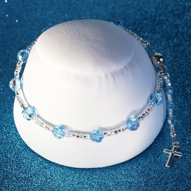 4b9826b44 Swarovski Crystal Rosary Bracelet in Light Blue   Etsy