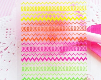 Zigzag Self Adhesive Colorful Nail Art Stickers Transfer Decals -  N4-02