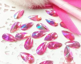 30 pcs 8x13mm Teardrop Pink AB Acrylic Special Effect Rhinestones ~ Q1-34