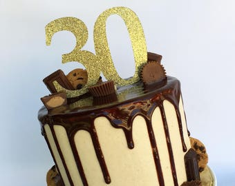 Number cake topper   Glitter cake topper   Gold cake topper   Thirty cake topper   30th birthday   30   21st birthday   40th birthday