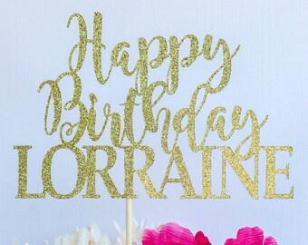 Script happy birthday cake topper | Glitter cake topper | Birthday cake topper | Name cake topper | Custom birthday cake topper