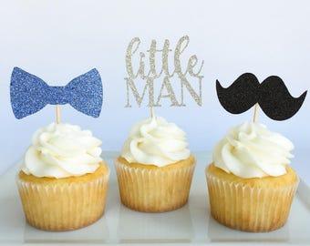 Little man cupcake toppers | Mustache cupcake toppers | Little man party | Mustache party | Little Man baby shower | Mustache baby shower