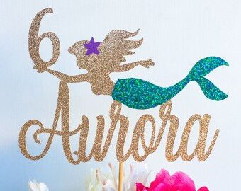Mermaid cake topper   Ariel cake topper   The little mermaid cake topper   Under the sea cake topper   Mermaid party   Age cake topper