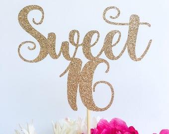Sweet sixteen cake topper | Sweet 16 | Glitter cake topper | Number cake topper | Cake topper | Birthday cake topper | Glitter cake topper