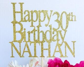 Happy birthday cake topper | Glitter cake topper | Birthday cake topper | Name cake topper | Custom birthday cake topper