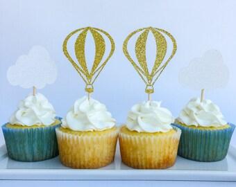 Hot air balloon cake topper   Hot air balloon party   First birthday   First birthday cake topper   Hot air balloon cupcake toppers