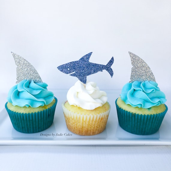 Fabulous Shark Cupcake Topper Shark Birthday Cake Topper Shark Etsy Funny Birthday Cards Online Fluifree Goldxyz