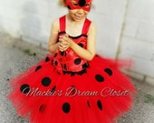 baby toddler girl ladybug tutu miraculous dress with mask costume dress Halloween birthday all occasion red black dots elastic handmade