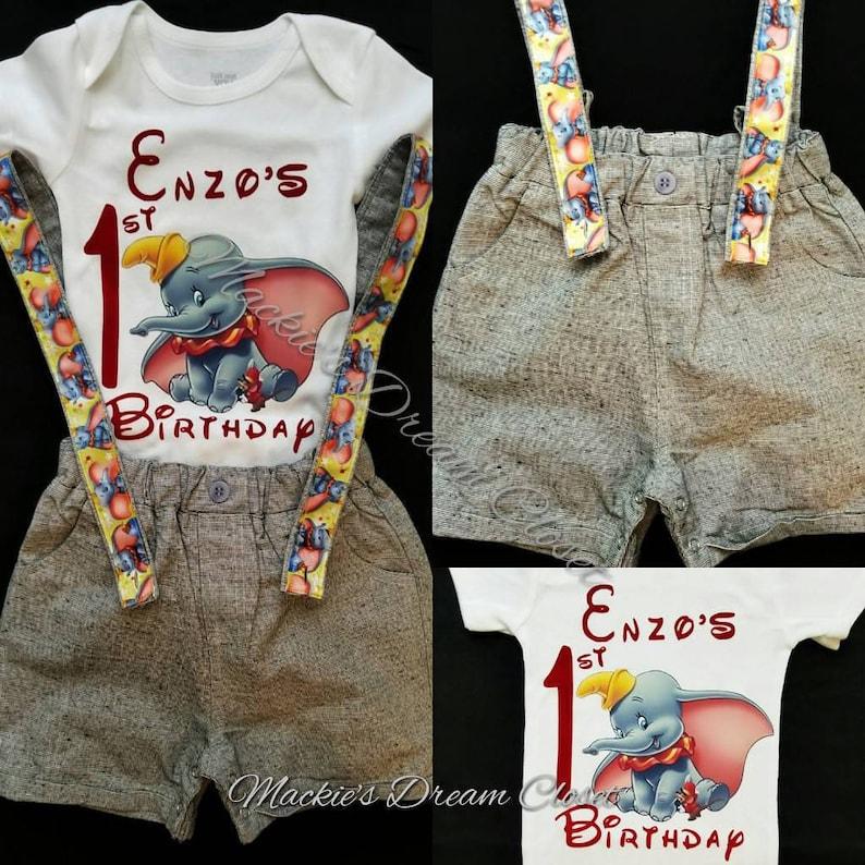 b8150893b42e7 Bébé garçon premier anniversaire éléphant Dumbo Timothy short