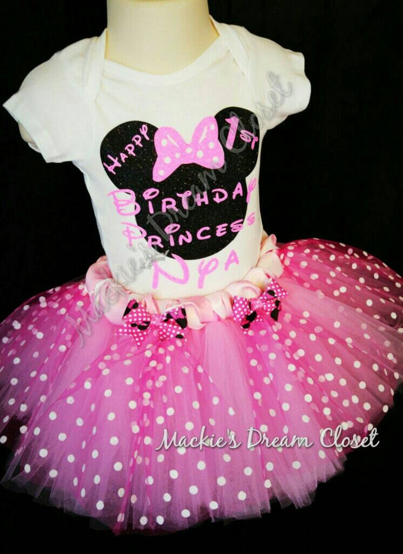 Minnie birthday tutu set baby pink white polka mouse ears personalized name glitter two piece skirt cotton shirt top crown princess girl