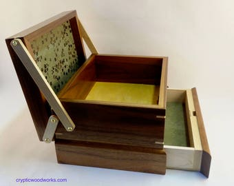 Jewelry / Keepsake Box with Spring Open Drawer - #9 of 12