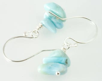 Blue larimar earrings , silver and blue ,  genuine gemstone earrings , larimar jewelry , blue bead earrings , light earrings  , handmade