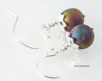 Purple earrings , agate druzy , peacock colors , sterling silver agate , titanium infused druzy , genuine gemstone  , gift for her ,
