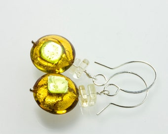 Golden Murano glass earrings , green and golden , golden light glass earrings , venetian glass , disc glass bead earrings , gift for her