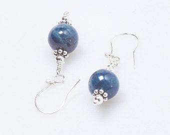 Blue bead short earrings ,  sterling silver earrings, lightweight  apatite earrings genuine gemstone  handmade earrings  gift for her