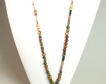 Brown and red long necklace , jasper necklace ,  genuine  gemstone varied , autumn colored , nature jewelry ,  made in Norway ,  long stone