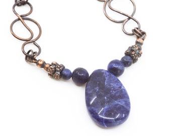 Blue sodalite  gemstone copper chain necklace  , genuine sodalite gemstone , art nouveau jewelry , boho and casual denim wear