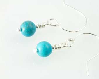 Genuine turquoise earrings , Campitos mine turquoise , blue and silver earrings ,  gift for her , short earrings , round  bead earrings