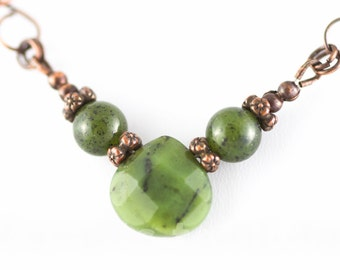 Green Jade wire wrapped copper necklace , handmade v-shape chain with nephrite jade B.C briolette , inspired by  Art Nouveau , everyday wear