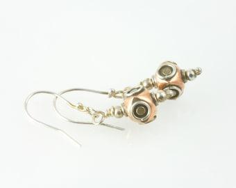 Steampunk earrings ,  silver earrings ,  Verne inspired ,  light earrings ,  bright earrings , copper earrings , deep sea helmets