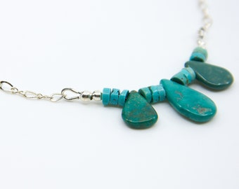 Genuine  turqoise necklace turquoise , dainty turquoise silver necklace , dainty turquoise jewelry , dainty silver necklace , aqua necklace